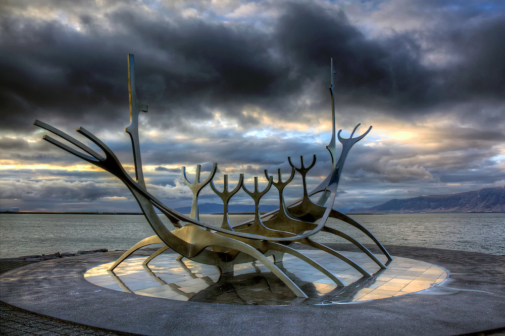 The Sun Voyager is a sculpture by Jón Gunnar Árnason located by Sæbraut along the sea in the centre of Reykjavík, Iceland.