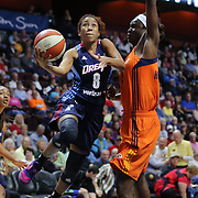 UNCASVILLE, CONNECTICUT- JUNE 3:   Carla Cortijo #8 of the Atlanta Dream drives to the basket past Aneika Henry-Morello #15 of the Connecticut Sun during the Atlanta Dream Vs Connecticut Sun, WNBA regular season game at Mohegan Sun Arena on June 3, 2016 in Uncasville, Connecticut. (Photo by Tim Clayton/Corbis via Getty Images)