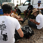 "Occupants of ""Camp Romney"" prepare for a protest parade during the Republican National Convention in Tampa, Fla. on Wednesday, August 29, 2012. (AP Photo/Alex Menendez)"