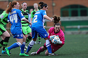 Forest Green's Abbie Morrisseymakes a save during the FA Women's Premier League match between Forest Green Rovers Ladies and Brighton Ladies at the Hartpury College, United Kingdom on 24 January 2016. Photo by Shane Healey.