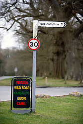 UK ENGLAND BERKSHIRE CHAPEL ROW 22MAR11 - Signage outside the Bladebone Butchery shop in Chapel Row, Berkshire, England. Mr Martin Fidler, the store's owner is licensed to sell exotic meats like camel, bison, kangaroo, wild boar and venison...jre/Photo by Jiri Rezac..© Jiri Rezac 2011