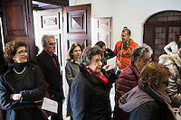 SLIEMA, MALTA - 8 FEBRUARY 2016: The Maltese audience of the touring Hamlet, performed by the Shakespeare's Globe theatre company, enters the Salesian Theatre in Sliema, Malta, on February 8th 2016.<br /> <br /> The touring Hamlet, performed by the Shakespeare's Globe theatre company, is part of the Globe to Globe tour that set off in April 2014 (on the 450th anniversary of Shakespeare's birth) with the ambitious intention of visiting every country in the world over 2 years. The crew is composed of a total of sixteen men and women: four stage managers and twelve twelve actors  actors perform over two dozen parts on a stripped-down wooden stage. So far Hamlet has been performed in over 150 countries, to more than 100,000 people and travelled over 150,000 miles. The tour was granted UNESCO patronage for its engagement with local communities and its promotion of cultural education. Hamlet was also played for many dsiplaced people around the world. It was performed in the Zaatari camp on the border between Syria and Jordan, for Central African Republic refugees in Cameroon, and for Yemeni people in Djibouti. On February 3rd it was performed to about 300 refugees in Calais at the camp known as the Jungle.