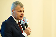 Piotr Szkielkowski speaks during extraordinary congress election of Polish Tennis Association 2014 at Torwar Hall in Warsaw, Poland.<br /> <br /> Poland, Warsaw, September 22, 2014<br /> <br /> Picture also available in RAW (NEF) or TIFF format on special request.<br /> <br /> For editorial use only. Any commercial or promotional use requires permission.<br /> <br /> Mandatory credit:<br /> Photo by © Adam Nurkiewicz / Mediasport