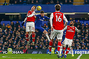 Arsenal forward Gabriel Martinelli (35) battles for possession in the air with Chelsea midfielder Jorginho (5) during the Premier League match between Chelsea and Arsenal at Stamford Bridge, London, England on 21 January 2020.