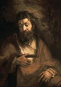 Simon the Apostle', Oil on canvas. Rembrandt Harmenszoon van Rijn (1606-1669) Dutch painter and etcher. Portrait  Seated Simon Peter  Seated Beard  Religion Christian
