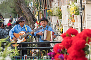 A Mariachi band plays at the grave of a relative in the Nuestra Señora de Guadalupe cemetery during the Day of the Dead festival November 1, 2016 in San Miguel de Allende, Guanajuato, Mexico. The week-long celebration is a time when Mexicans welcome the dead back to earth for a visit and celebrate life.