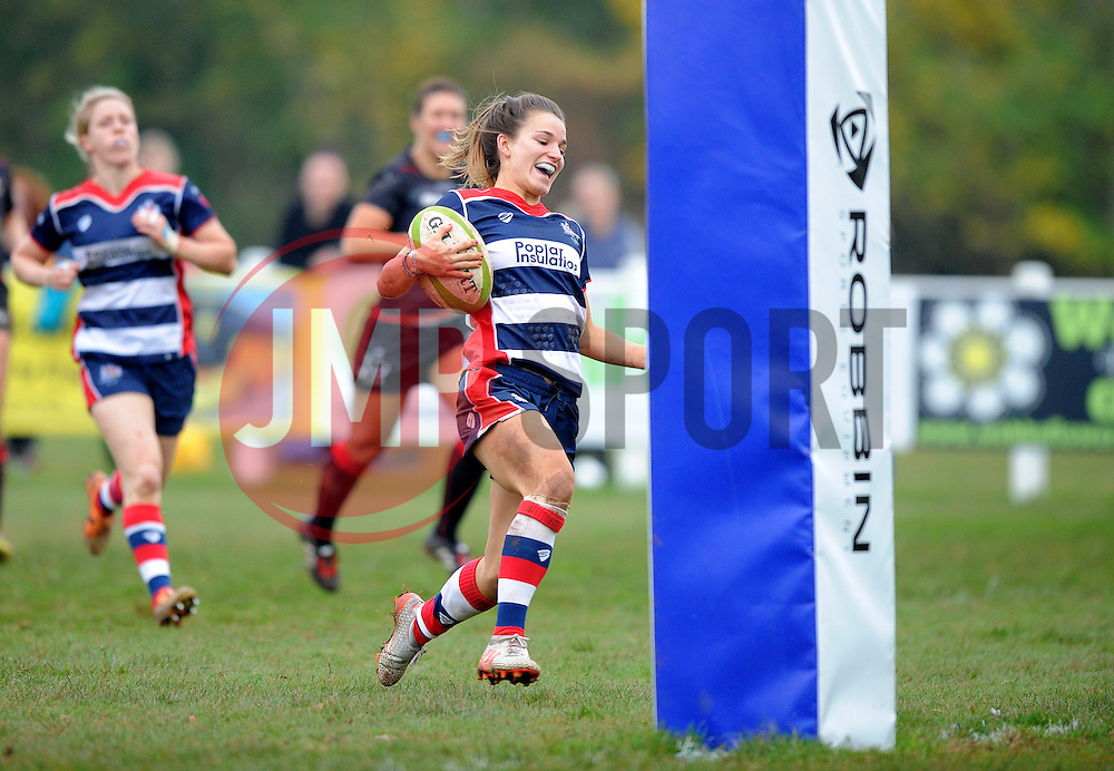 Jasmine Joyce of Bristol Ladies heads towards the whitewash to score a try against Saracens Women - Mandatory by-line: Paul Knight/JMP - 30/10/2016 - RUGBY - Cleve RFC - Bristol, England - Bristol Ladies v Saracens Women - RFU Women's Premiership