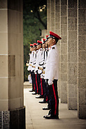 Soldiers standing guard during the Remembrance Day ceremony at the Kranji War Memorial, Singapore, Nov. 13, 2011.