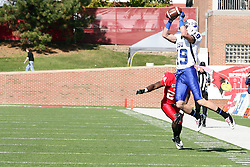 22 October 2011:  Justin Hilton pulls in the ball but Mike Banks is between him and the goal line during an NCAA football game  the Indiana State Sycamores lost to the Illinois State Redbirds (ISU) 17-14 at Hancock Stadium in Normal Illinois.