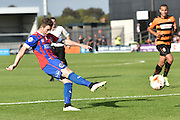 Jamie Cureton of Dagenham and Redbridge  shoots for goal during the Sky Bet League 2 match between Barnet and Dagenham and Redbridge at Hive Stadium, London, England on 26 September 2015. Photo by Ian Lyall.
