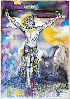 Artistic Crucifiction: This wonderful water colour painting of the crucifixion of Christ hangs in the Catholic Iglesia de San Francisco de Paula, Havana Cuba.