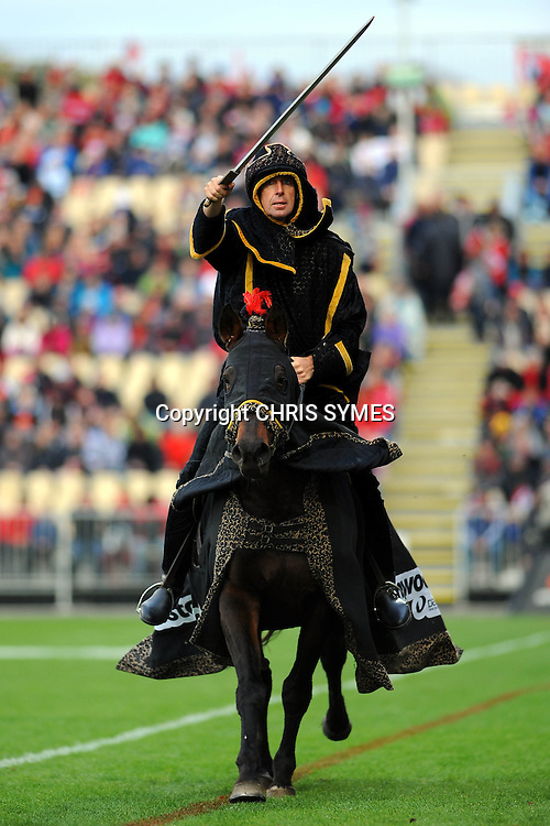 Black Knight Horseman during the Super Rugby game Crusaders v Reds. New AMI Stadium, Addington, Christchurch, New Zealand. Sunday 6 May 2012. Photo: Chris Symes/www.photosport.co.nz