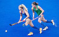 RIO DE JANEIRO (Brazilie) - De dames  van Oranje trainen vanmiddag in het Olympische hockeystadion . Laurien Leurink met Lidewij Welten.    COPYRIGHT KOEN SUYK