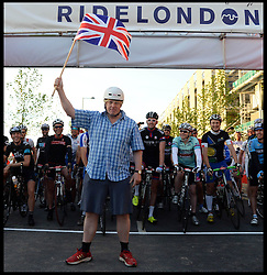 The Mayor of London Boris Johnson Starts  Ride London bike ride, a 100 mile cycle ride starting at the Olympic Park, London, United Kingdom<br /> Sunday, 4th August 2013<br /> Picture by Andrew Parsons / i-Images