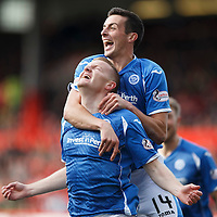 Aberdeen v St Johnstone...03.10.15   SPFL   Pittodrie, Aberdeen<br /> Brian Easton celebrates his goal with Joe Shaughnessy<br /> Picture by Graeme Hart.<br /> Copyright Perthshire Picture Agency<br /> Tel: 01738 623350  Mobile: 07990 594431