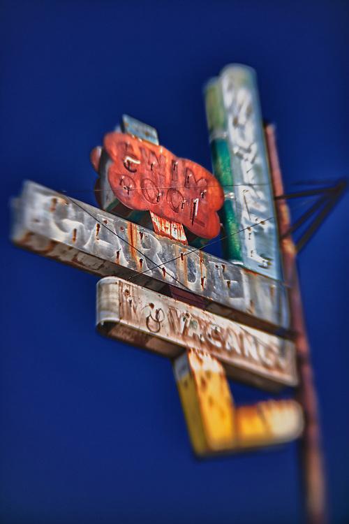 Garden Motel Sign - Kingsburg, CA - Old Highway 99 - HDR - Lensbaby