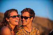 Will Taylor and Thea Hutchinson on the beach at sunset in Southern California.