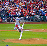 Phillies Pitcher Ryan Madson finishing throw to LA Dodgers