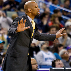 December 15, 2010; New Orleans Hornets head coach Monty Williams reacts during the second half of a game against the Sacramento Kings at the New Orleans Arena. The Hornets defeated the Kings 94-91. Mandatory Credit: Derick E. Hingle