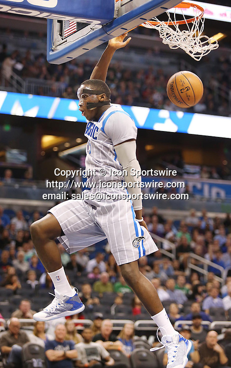 Dec. 23, 2014 - Orlando, FL, USA - The Orlando Magic's Victor Oladipo dunks against the Boston Celtics at the Amway Center in Orlando, Fla., on Tuesday, Dec. 23, 2014