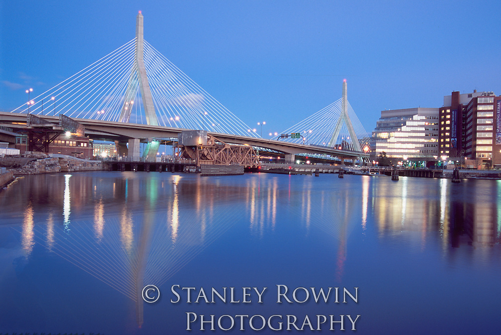 Zakim Bunker Hill Bridge; Boston; Dusk, Panorama, Night, Bridge, Water