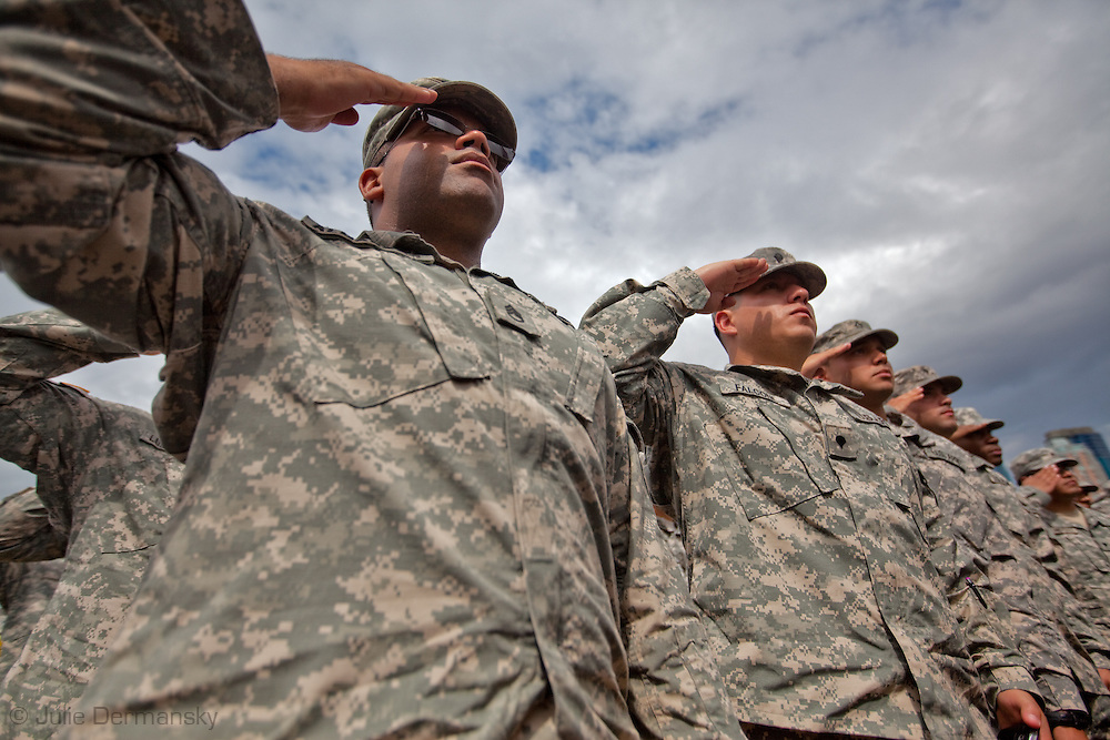 New Jersey National Guard at dedication ceremony at  the Empty Sky Memorial 9/11 Memorial at Liberty State Park in New Jersey  by  the Architect  Frederic Schwartz opens on September 10th 2011 for the tenth anniversary of 9/11. The memorial is two 30-Ft rectangular towers  208 feet by 10 inches long,  the width of the World Trade Center towers and with the names of the 746 New Jerseyans who perished after the terrorist attacks on 9/11, 2001  etched in stainless steel.