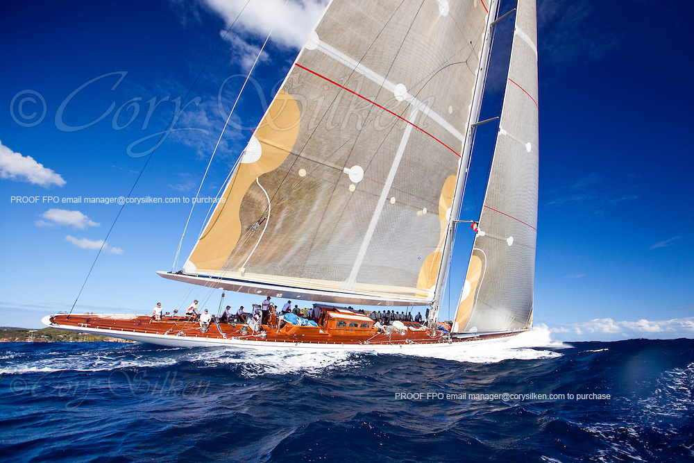 ranger, J Class, sailing in The Superyacht Cup regatta, Antigua 2010, race one.