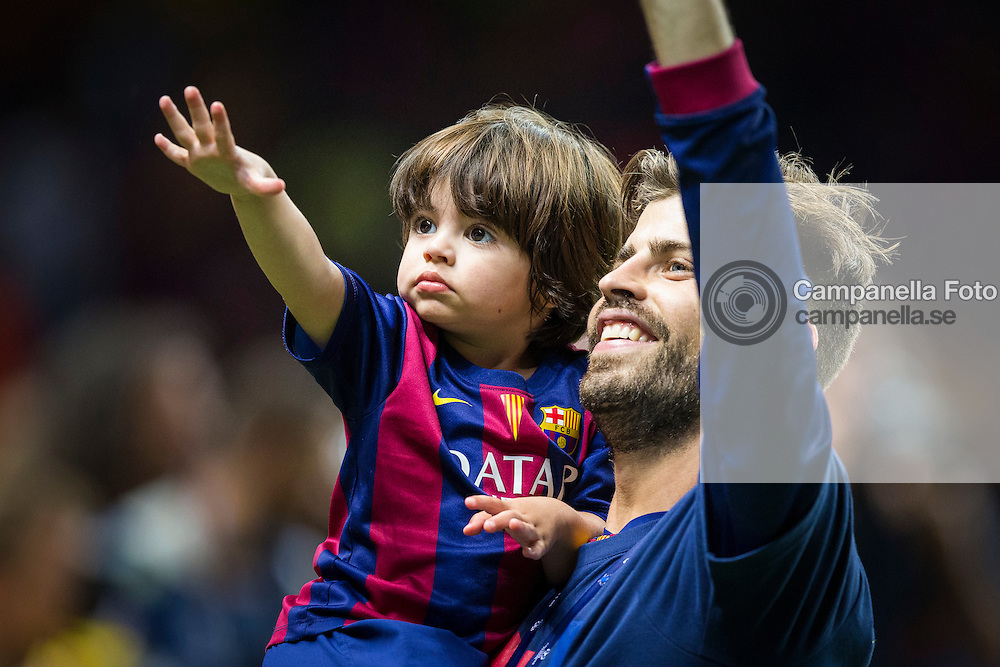 BERLIN, GERMANY - June 6th 2015:<br /> <br /> Barcelona 3 Gerard Piqu&eacute; celebrates after winning the UEFA Champions League Final between Juventus FC and FC Barcelona at Olympiastadion in Berlin, Germany on June 6th 2015. (Photo: Michael Campanella)