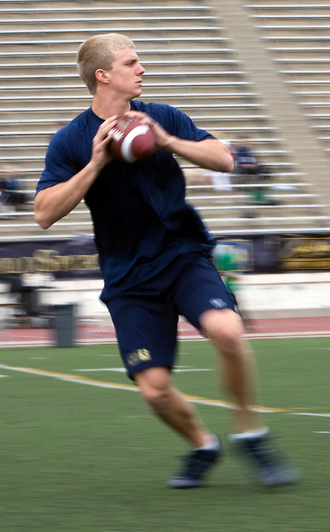 Nate Montana, son of Hall of Fame quarterback Joe Montana, works out at Steve Clarkson's quarterback camp.