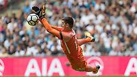 Football - 2017 / 2018 Premier League - Tottenham Hotspur vs. Chelsea <br /> <br /> Thibaut Courtois (Chelsea FC)  with a flying block of a Tottenham shot at goal <br /> at Wembley Stadium.<br /> <br /> COLORSPORT/DANIEL BEARHAM