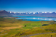 Lake Tekapo and the Southern Alps from the summit of Mt. John, Canterbury, South Island, New Zealand