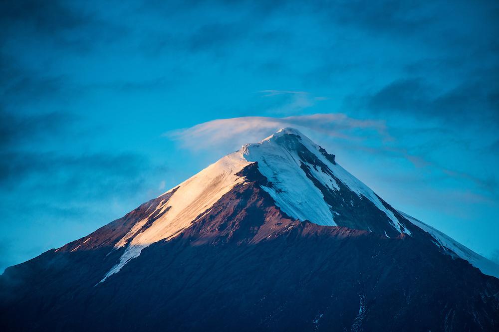 Tolbachik volcano at sunset, Kamchatka, Russia