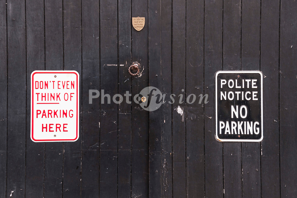 No Parking signs on a Uk gate