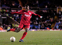 Photo: Glyn Thomas.<br />Birmingham City v Liverpool. The FA Cup. 21/03/2006.<br /> Liverpool's Djibril Cisse scores his side's seventh goal.