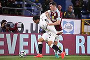 Watford forward Troy Deeney (9)  shields the ball from Burnley defender Michael Keane (5)  during the Premier League match between Burnley and Watford at Turf Moor, Burnley, England on 26 September 2016. Photo by Simon Davies.