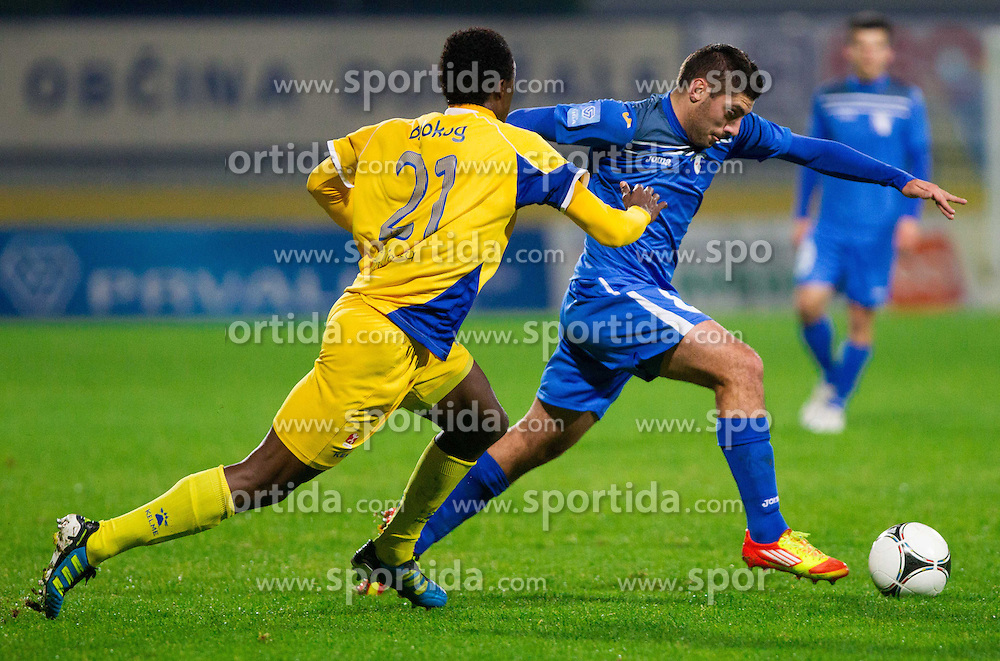 Nack Patrick Balokog of Domzale vs Matija Sirok #8 of Gorica during football match between NK Domzale vs ND Gorica in 17th Round of PrvaLiga NZS 2012/13 on November 7, 2012 in Sports park Domzale, Slovenia. (Photo By Vid Ponikvar / Sportida)