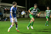 James Norwood (Tranmere Rovers) looks up to see where to cross the ball into the North Ferriby United penalty box during the Vanarama National League match between North Ferriby United and Tranmere Rovers at Eon Visual Media Stadium, North Ferriby, United Kingdom on 21 March 2017. Photo by Mark P Doherty.