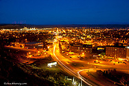Looking down upon night streets of Billings, Montana, USA