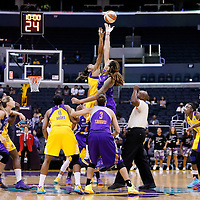24 July 2014: Jump off between Los Angeles Sparks forward/center Candace Parker (3) and Phoenix Mercury center Brittney Griner (42) during the Phoenix Mercury 93-73 victory over the Los Angeles Sparks, at the Staples Center, Los Angeles, California, USA.