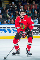 KELOWNA, CANADA - APRIL 14: Cody Glass #8 of the Portland Winterhawks skates against the Kelowna Rockets on April 14, 2017 at Prospera Place in Kelowna, British Columbia, Canada.  (Photo by Marissa Baecker/Shoot the Breeze)  *** Local Caption ***