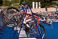 Transition 1 Bikes.Womens ITU Race.2011 Dextro Energy Triathlon ITU World Championship Sydney.Sydney, New South Wales, Australia..Hosted By USM Events.Proudly Supported By Asics, Dextro, Suunto, Events New South Wales, Subaru, USM Events..10/04/2011.Photo Lucas Wroe
