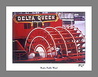 Signed and numbered 19x24 poster of the paddlewheel of the Delta Queen steamboat during the Tall Stacks festival in Cincinnati