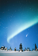 Alaska. Northern Lights with Hale-Bopp Comet.
