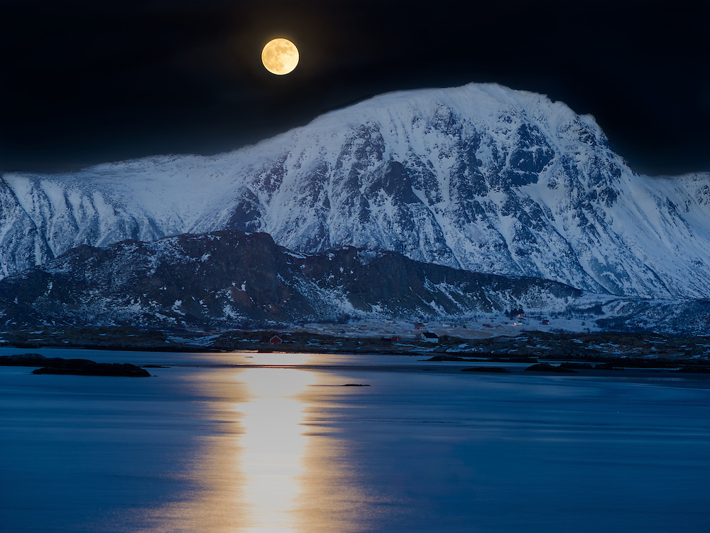 Full moon rise in Eggum, Lofoten Norway.