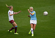 Manchester City Women's defender Steph Houghton (6) and West Ham United Women midfielder Kate Longhurst (12) during the FA Women's Super League match between Manchester City Women and West Ham United Women at the Sport City Academy Stadium, Manchester, United Kingdom on 17 November 2019.