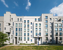 Modern luxury apartment buildings beside River Spree near Rummelsburg in Berlin, Germany
