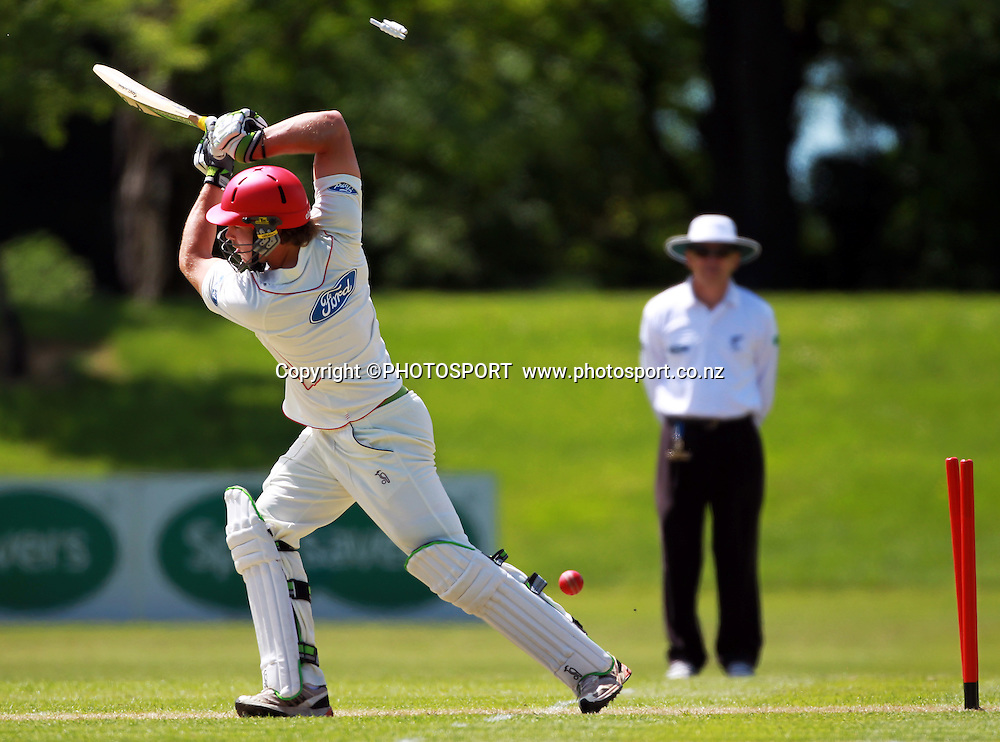 Canterbury batsmen George Worker is bowled during play on the first day of the first game of the season. Canterbury Wizards v Otago Volts, Plunket Shield Game held at Mainpower Oval, Rangiora, Monday 07 November 2011. Photo : Joseph Johnson / photosport.co.nz