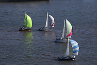 Aerial view of the Liberty Sailing Club racing along   the Delaware River