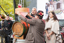 Sasa Arsenovic, mayor of Maribor, Meta Frangež, Slovenian wine queen and Alojz Jenus during during martinovanje, St. Martin's Day Celebration on November 11, 2019 in Maribor, Slovenia. Photo by Milos Vujinovic / Sportida