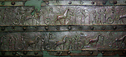 Surviving bronze bands of the Balawat Gates (858-824 BC)  from the palace of Shalmaneser III, Iraq. Bronze strips embossed with scenes of Shalmaneser's campaigns. First depictions trees and mountains in Assyrian art. Currently at the British Museum, London.